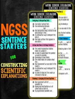 NGSS Sentence Starters for Constructing Explanations Bookmark