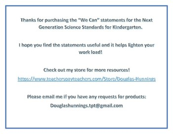 NGSS We Can Statements for Kindergarten