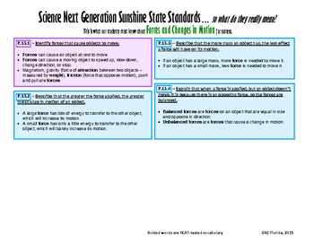 NGSSS Forces and Changes in Motion Teacher/Student Bundle