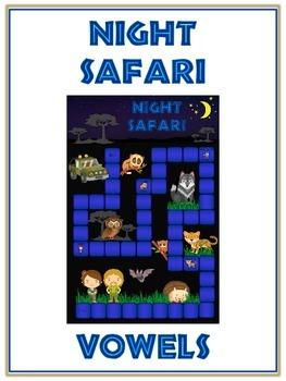 NIGHT SAFARI Vowels- ELA First Grade Folder Game - Word Wo