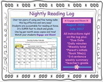 NIGHTLY READING LOG / MONTHLY READING CALENDAR