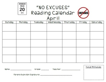 """NO EXCUSES"" READING CALENDARS"