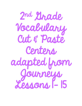 NO PREP: 2nd Grade Vocabulary Cut & Paste Center adapted f