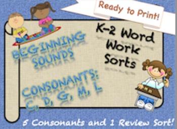 NO PREP 5 (c, d, g, m, l) Beginning Consonants Sorts K-2 I