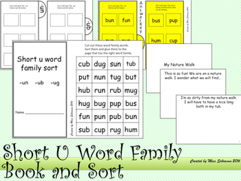 NO PREP Short U CVC Word Sort and Flip Book OR Interactive