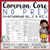 No Prep Reading and Writing: Standard 1 {includes tests an