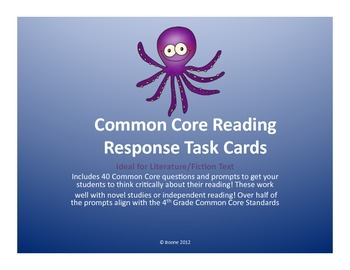 NO PREP Common Core Reading Task Cards (Ideal for any fict