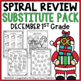 NO PREP December Substitute/Review Pack {1st Grade}