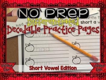NO PREP Differentiated Decodable Printables VOLUME 1: Shor