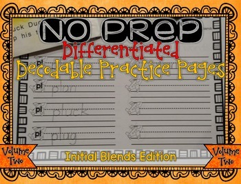 NO PREP Differentiated Decodable Printables VOLUME 2: Init