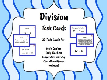 Division Task Cards (Basic Facts and Word Problems) - LOW/