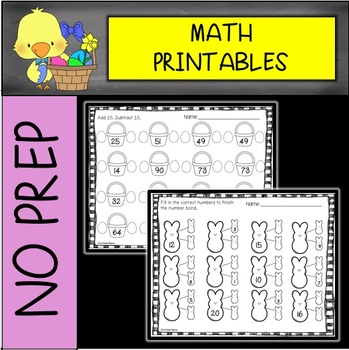 EASTER NO PREP Math Printables