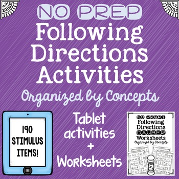 NO PREP Following Directions Interactive Tablet Activity +