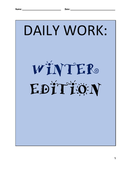 NO PREP INDEPENDENT DAILY WORK- Math and ELA (WINTER THEME)