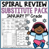 NO PREP January Substitute/Review Pack {1st Grade}