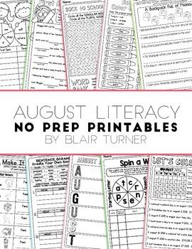 NO PREP Literacy Printables - August