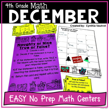 NO PREP! MATH Centers for December {4th Grade}