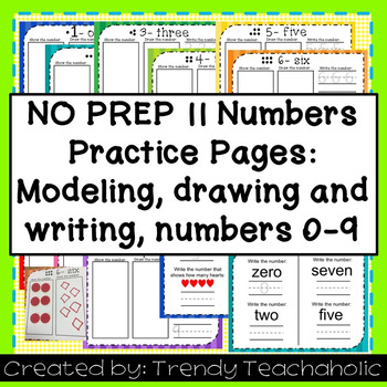 NO PREP- Numbers Practice Sheets- Practice showing, drawin