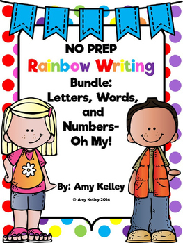 NO PREP Rainbow Writing Bundle! Letters, Words, and Number