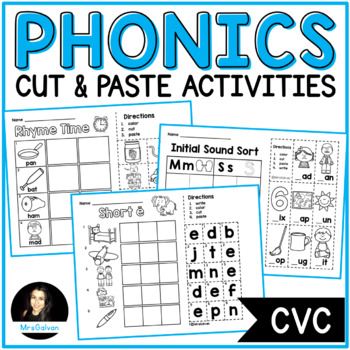 Phonics Cut and Paste Activities Set 1 NO PREP Printables