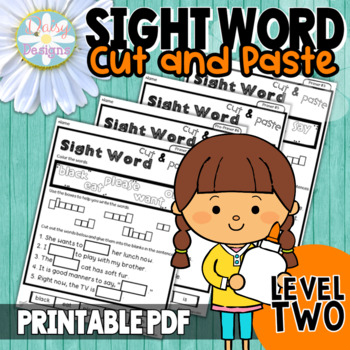 NO PREP Sight Word Cut and Paste Printables Level 2 - Pre-