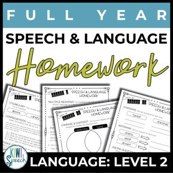 NO PREP Speech and Language Homework - Full Year - Languag