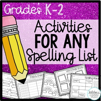 NO PREP Spelling Activity Worksheets for Any List K, 1st,