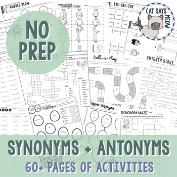 Synonym and Antonym Pack: NO PREP! (Varying Levels of Diff