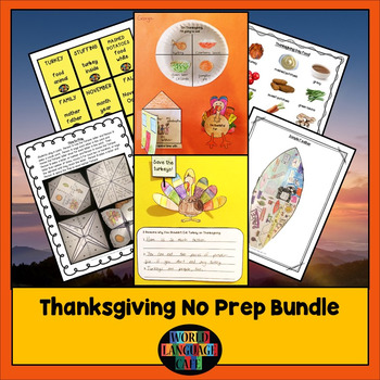 Thanksgiving NO PREP Writing Literacy Activities, Games, C