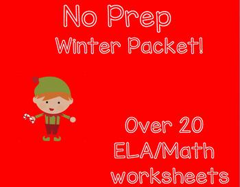 NO PREP Winter Math/ELA Activities