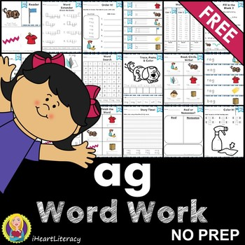 Word Work ag Word Family Short A FREE NO PREP
