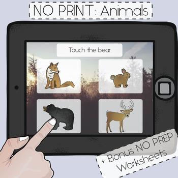 NO PRINT! Animal Vocabulary Activity + Bonus No Prep Homework