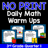 NO PRINT Third Grade Daily Math Warm Ups - Quarter 1