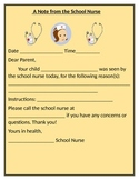 SCHOOL NURSE NOTE