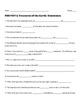 NOVA Treasures of the Earth: Gemstones   Video Worksheet