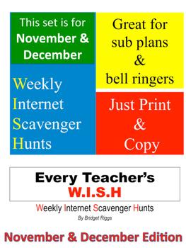 NOVEMBER & DECEMBER Weekly Internet Scavenger Hunts