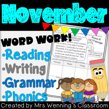 NOVEMBER Lesson Plans, Activities & Word Work!