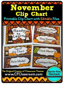 NOVEMBER THEME CLIP CHART / BEHAVIOR PLAN-classroom theme