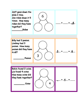 NUMBER BONDS Word Problems for 6 and 7 Math Station