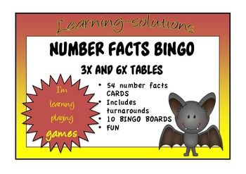 NUMBER FACTS BINGO - Double Ups - 3x and 6x tables with Tu