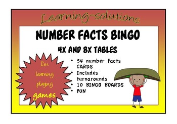 NUMBER FACTS BINGO - Double-Ups - 4x and 8x Tables with Tu