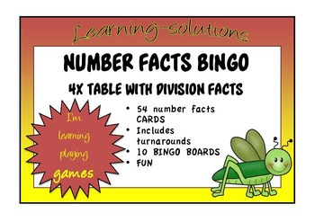 NUMBER FACTS BINGO - 4x table with Division Facts
