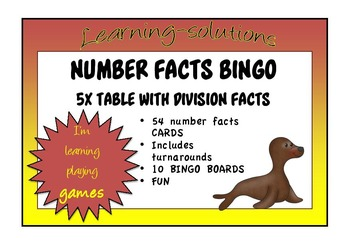 NUMBER FACTS BINGO - 5x Table with Division Facts