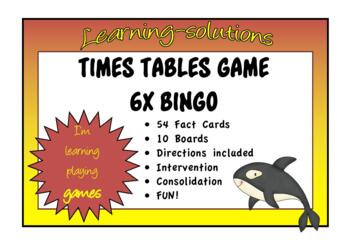 NUMBER FACTS BINGO - 6x with Division Facts