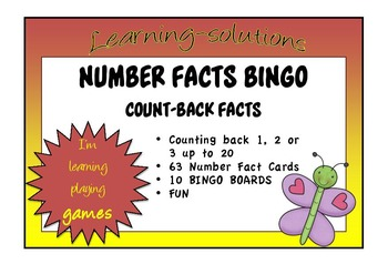 NUMBER FACTS BINGO - Count Backs - Taking 1, 2 or 3