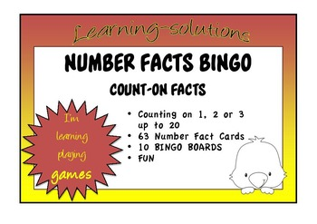 NUMBER FACTS BINGO - Count-Ons - Adding 1, 2 or 3 up to 20