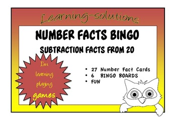 NUMBER FACTS BINGO - Subtraction facts from 20