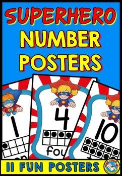 SUPERHERO NUMBER POSTERS WITH TEN FRAMES: SUPERHERO THEME: