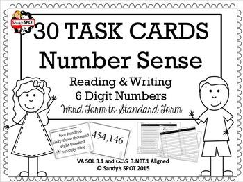 NUMBER SENSE 30 TASK CARDS WORD FORM STANDARD FORM