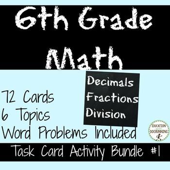 6th GRADE MATH Number System Task Card Activity Bundle 1 (SAVE)